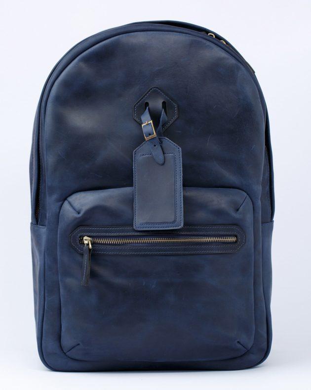 синій шкіряний рюкзак olpr