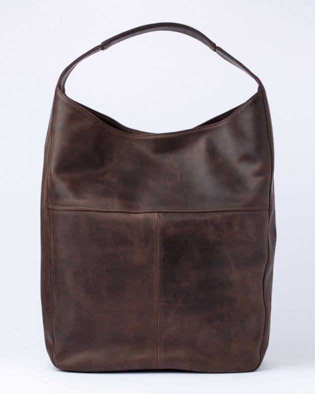 коричнева сумка хобо зі шкіри