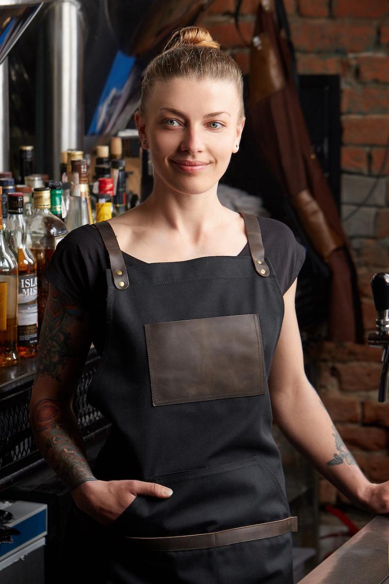 чорний фартух для бармена жіночий