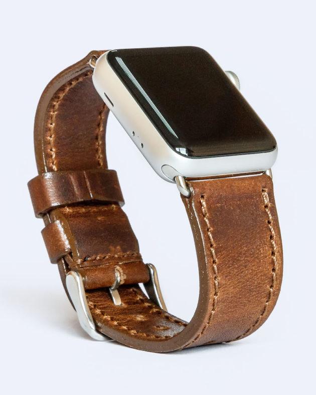 Шкіряний ремінець для годинника Apple каштановий