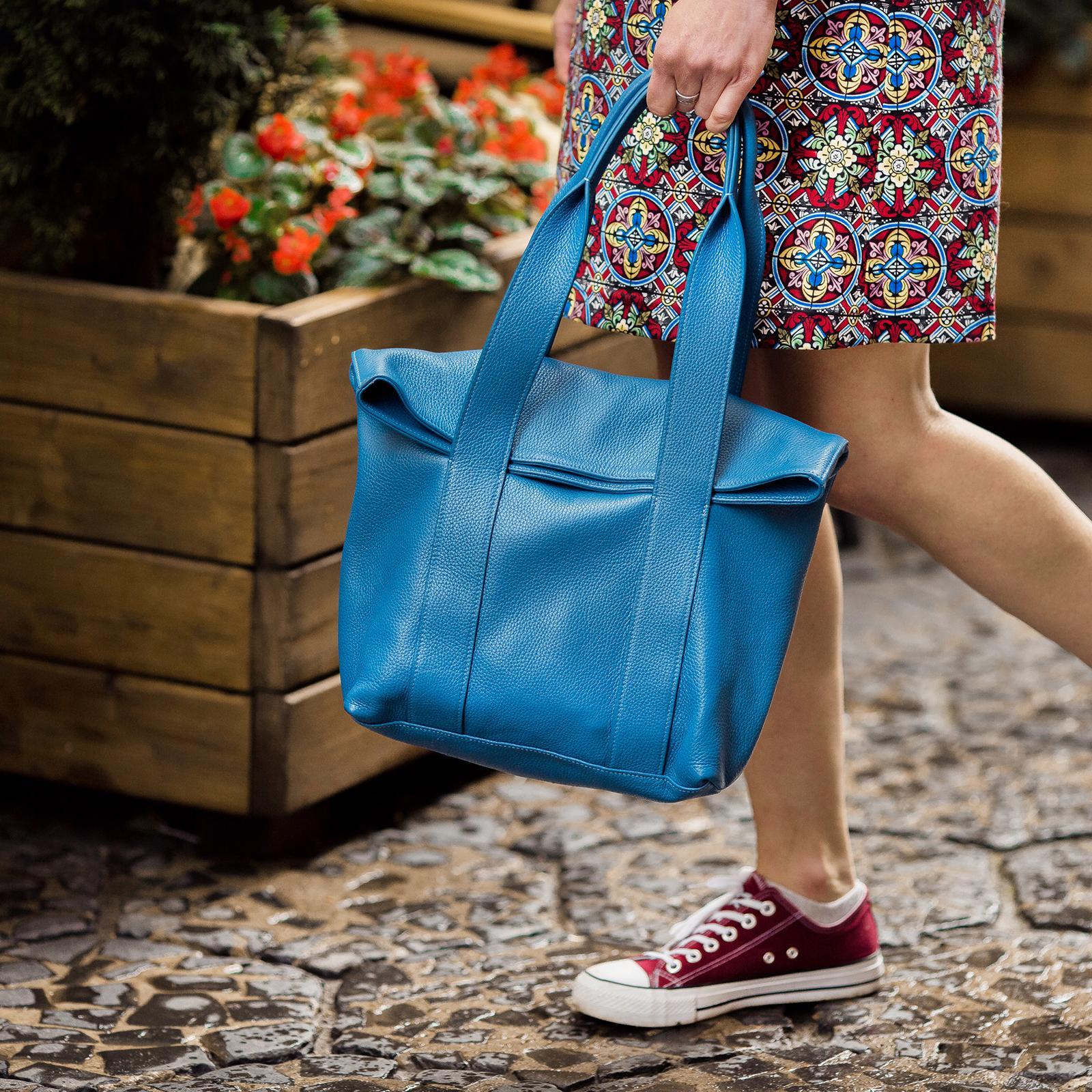 Фото: сумка велика шкіряна синя