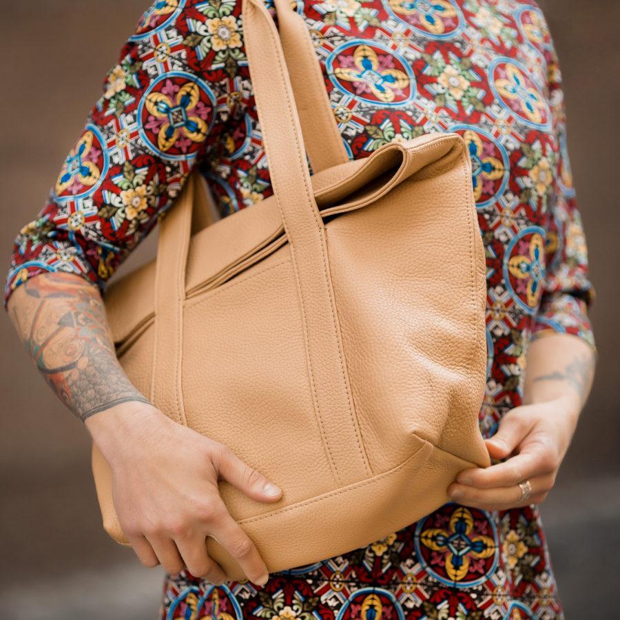 Фото: сумка велика шкіряна беж