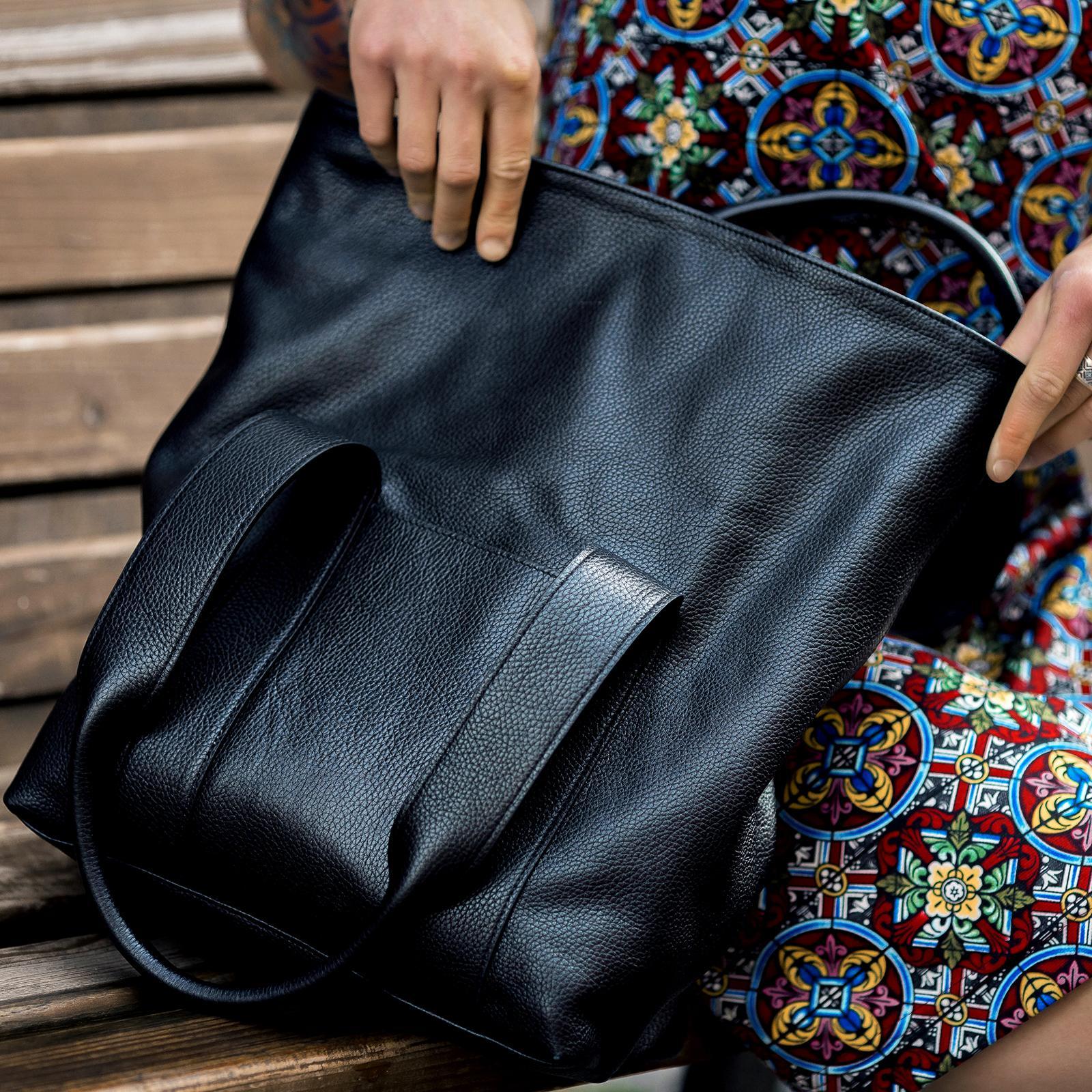 Фото: сумка велика шкіряна чорна