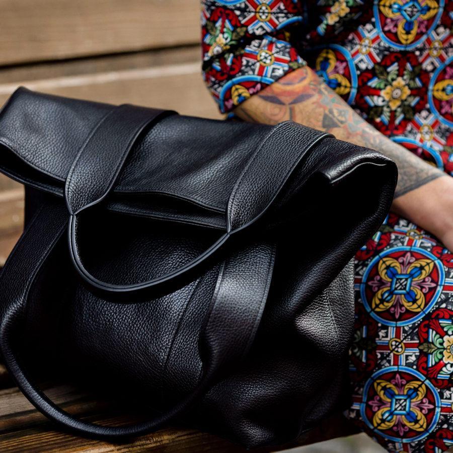 Фото: сумка тоут шкіряна чорна