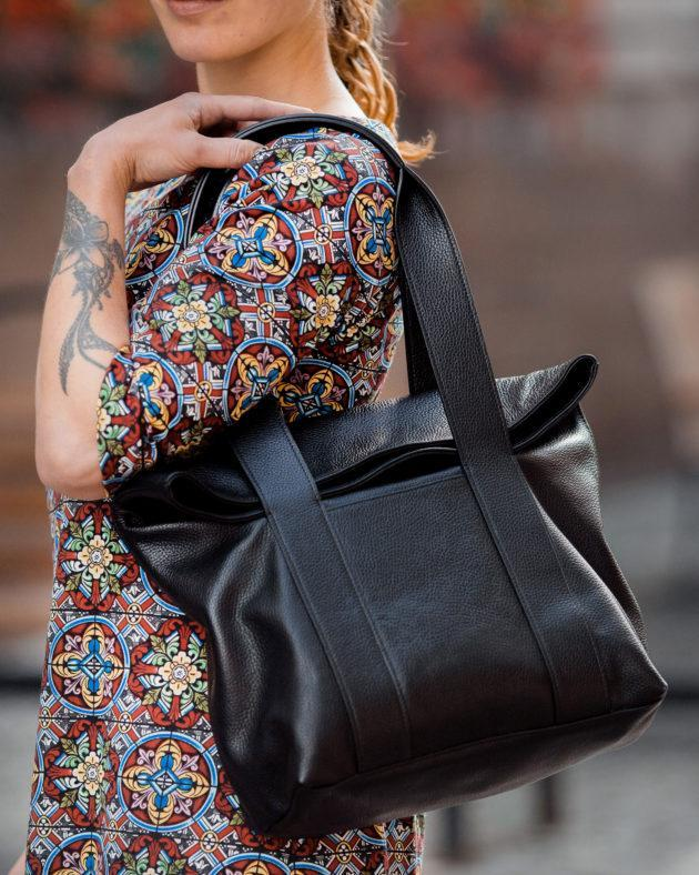 Фото: сумка tote шкіряна чорна