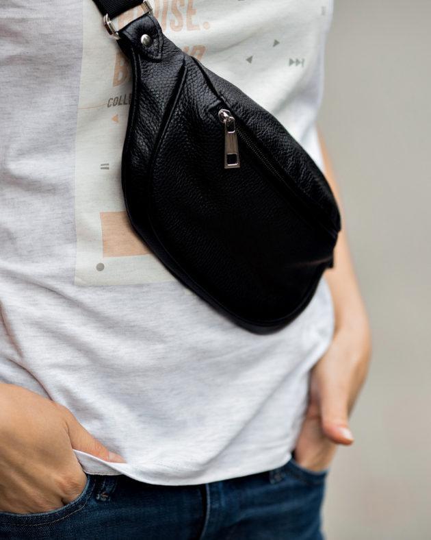 Фото: сумка бананка шкіряна чорна