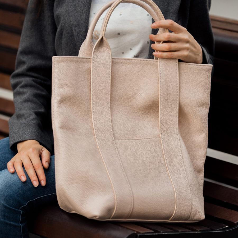Фото: сумка tote шкіряна колір пудри