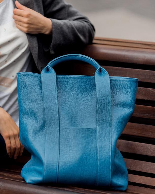 Фото: сумка тоут шкіряна синя