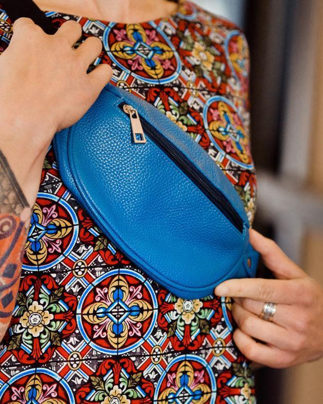 Фото: сумка синя шкіряна спортивна